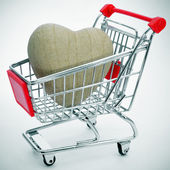 Heart in a shopping cart — Stock Photo