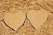 Sand hearts — Stock Photo