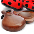 Castanets and typical dot-patterned flamenco shoes — Stock Photo #38798555