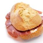 Spanish bocadillo de jamon serrano, a serrano ham sandwich — Stock Photo #39696337