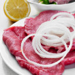 Raw beef fillets and chicken meat skewers — Stock Photo