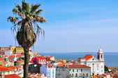 Alfama and the Tagus River in Lisbon, Portugal — Stock Photo
