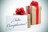 Feliz cumpleanos, happy birthday written in spanish — Stock Photo