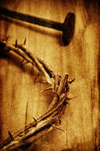 The Jesus Christ crown of thorns on the holy cross, with a retro — Stock Photo