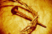 The Jesus Christ crown of thorns with a retro filter effect — Stock Photo