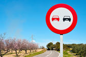 No overtaking sign in a secondary road — Stock Photo