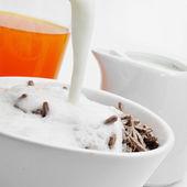 Orange juice and cereal bran sticks and yogurt — Stock Photo