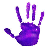 Violet handprint, depicting the idea of to stop violence against — Stock Photo