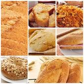 Pane prodotti collage — Foto Stock