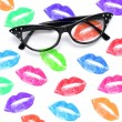 Eyeglasses and lipstick marks — Stock Photo #46047277