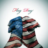 Flag Day and man clasped hands patterned with the american flag — Stock Photo