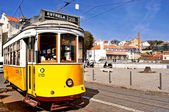 Typical tram 28 in Alfama district in Lisbon, Portugal — Stock Photo