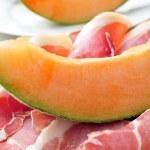 Spanish jamon serrano and melon — Stock Photo #47639391