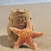 Starfish and sandcastle on the beach — Stock Photo