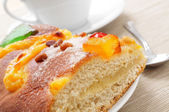 Coca de Sant Joan, typical sweet flat cake from Catalonia, Spain — Stock Photo