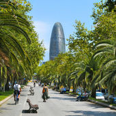 Avinguda Diagonal and Torre Agbar in Barcelona, Spain — Stock Photo