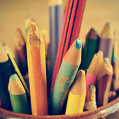 Coloured pencils, with a retro effect — Stock Photo