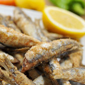 Spanish boquerones fritos, fried anchovies typical in Spain — Stock Photo