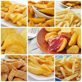 Fried potatoes collage — Stock Photo