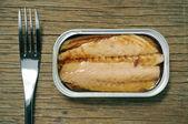 Canned mackerel — Stock Photo