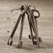Old and rusty keys, in sepia tone — 图库照片
