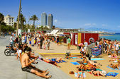 La Barceloneta Beach, in Barcelona, Spain — Stock Photo