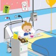 Stock Vector: Child eating meal in hospital bed