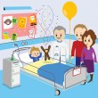 Stock Vector: Child getting good news from doctor in hospital