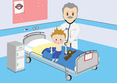 Child gets medical examination by doctor — Stock Vector