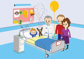 Child getting good news from doctor in hospital — Stock Vector