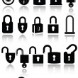 Stock Vector: Set of lock icons