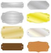Casa o trofeos placas con textura de metal y de madera — Vector de stock