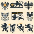 Heraldic lions and eagles — Stock Vector