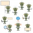 Stock Vector: Cartoon military robots