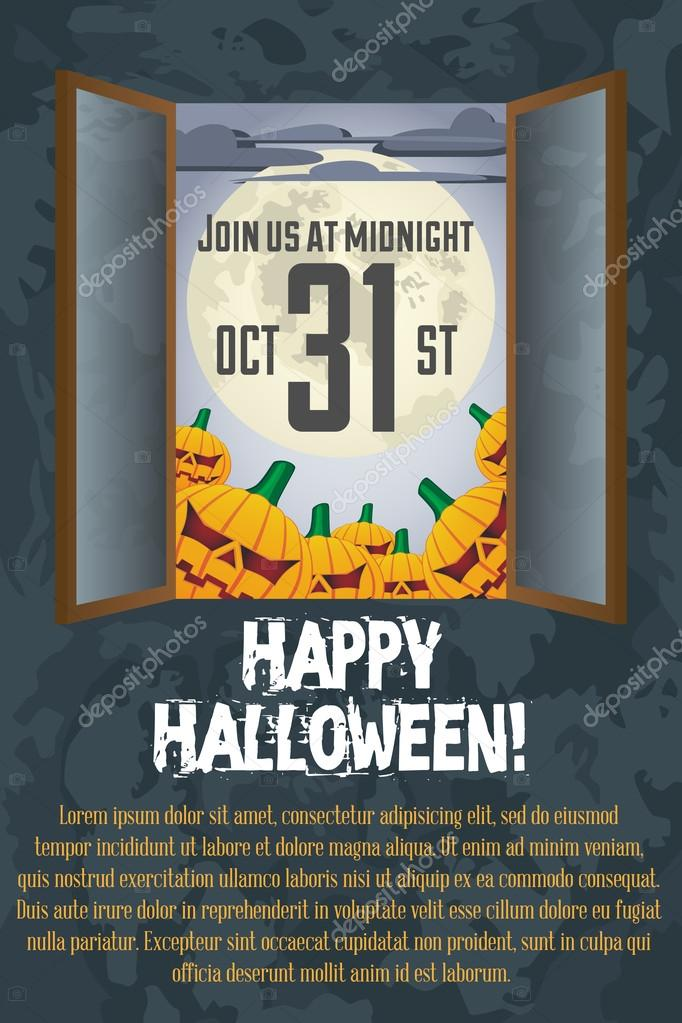 Grungy Halloween poster Template with full moon and pumpkins  Imagen vectorial #12842166