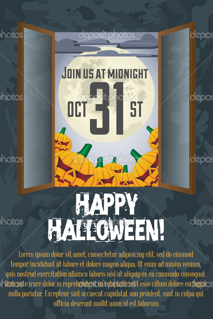 Grungy Halloween poster Template with full moon and pumpkins — Vettoriali Stock  #12842166