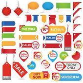 Stor uppsättning försäljning klistermärken — Stockvektor