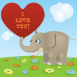 Cute cartoon elephant — Image vectorielle