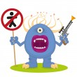 Blue monster with a blaster - Stock Vector