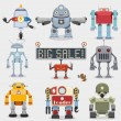 Cartoon robots collection - Stock Vector