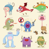 Cartoon monsters collection — Stock Vector