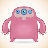 Three-eyed pink monster — Stock Vector