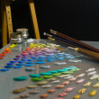 Stock Photo: Artist's painting palette and workspace.