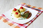 Pasta with ham — Stock Photo