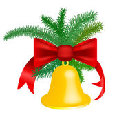 Christmas bell with red ribbon — Stockvektor
