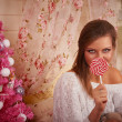 Girl with candy — Stock Photo