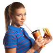Stock Photo: Beautiful girl with hamburger and soda