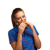 Girl eating burger — Stock Photo