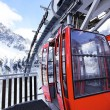 Stock Photo: Red cable car in winter