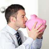 I love my piggy bank — Stock Photo